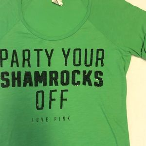 Victorias Secret pink St Patricks Day shirt medium